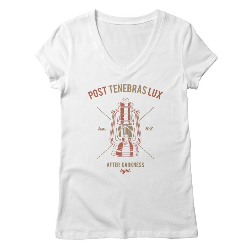 Post Tenebras Lux Women's Regular V-Neck by Reformed Christian Goods & Clothing