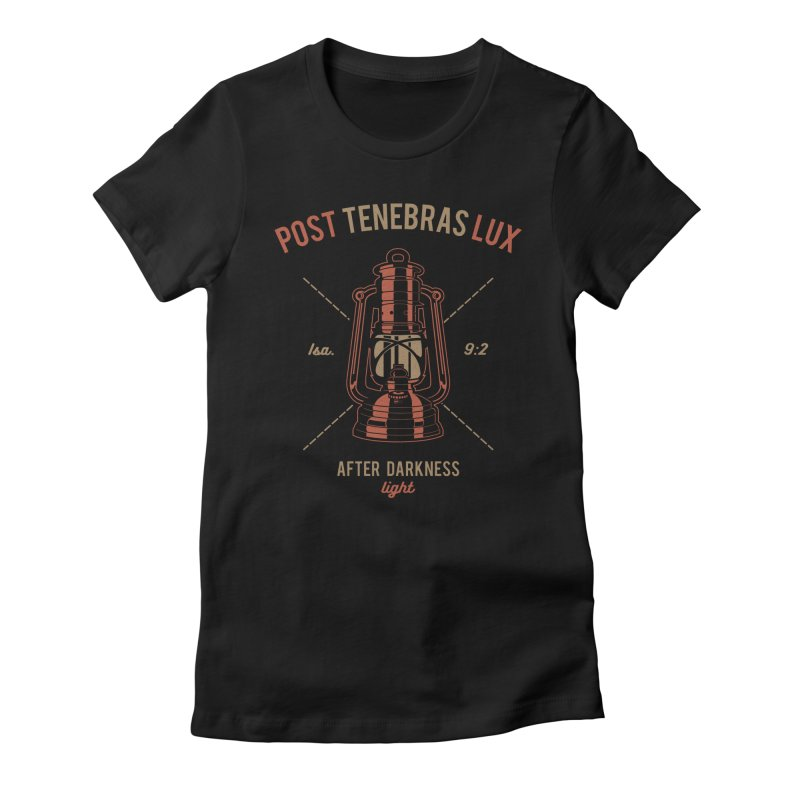 Post Tenebras Lux Women's Fitted T-Shirt by Reformed Christian Goods & Clothing
