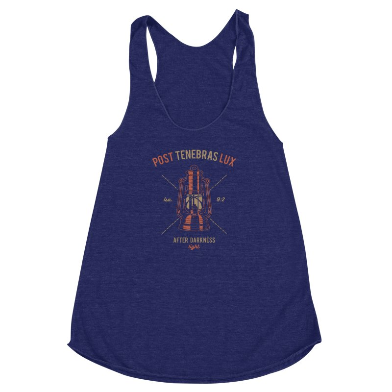 Post Tenebras Lux Women's Racerback Triblend Tank by A Worthy Manner Goods & Clothing