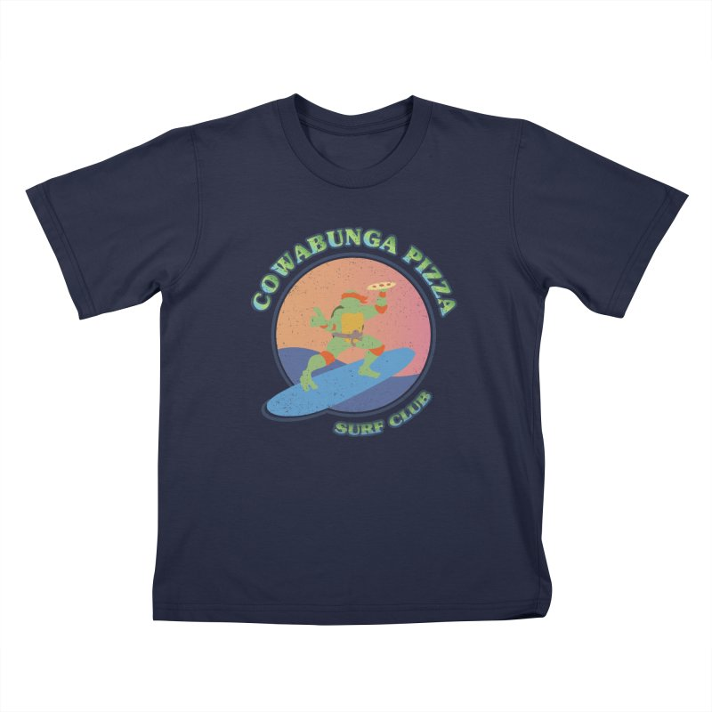 COWABUNGA PIZZA SURF CLUB Kids T-Shirt by refritomix