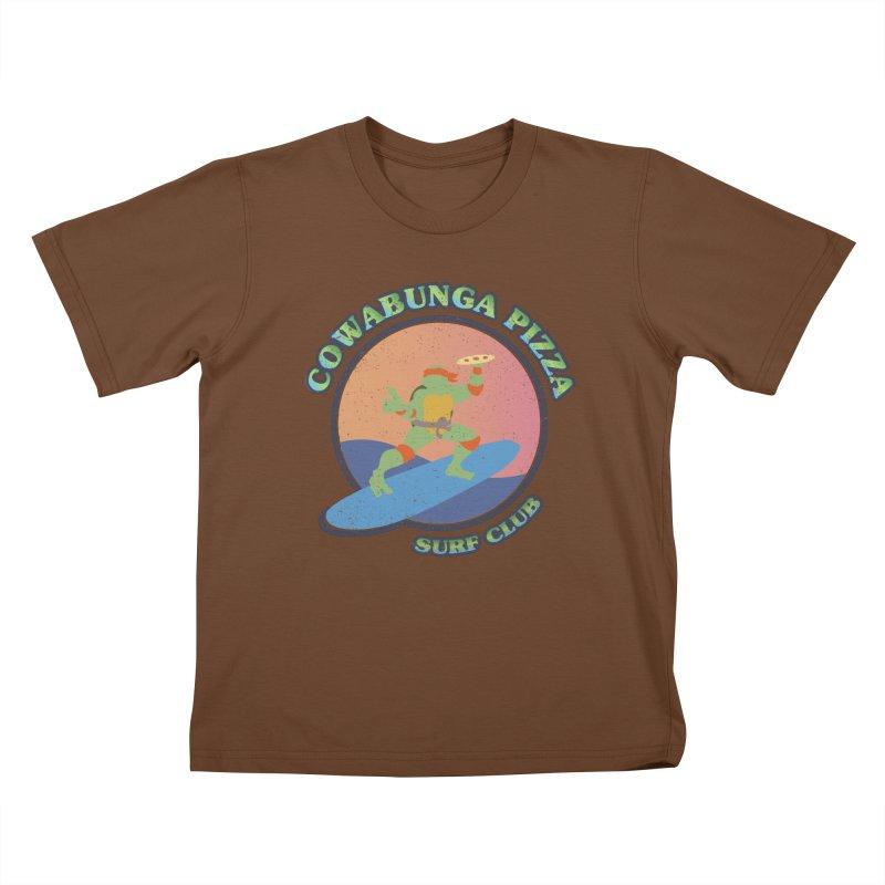 COWABUNGA PIZZA SURF CLUB Kids T-Shirt by refritomix