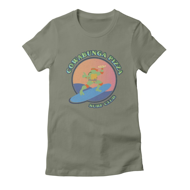 COWABUNGA PIZZA SURF CLUB Women's Fitted T-Shirt by refritomix