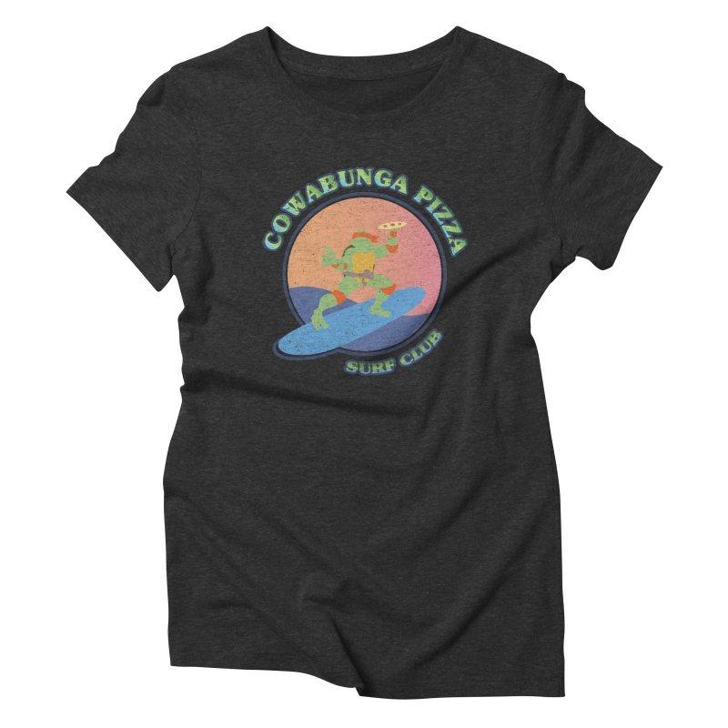 COWABUNGA PIZZA SURF CLUB Women's Triblend T-Shirt by refritomix