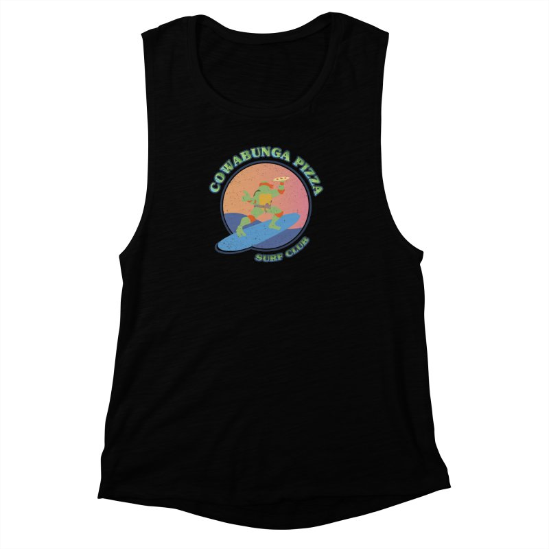 COWABUNGA PIZZA SURF CLUB Women's Muscle Tank by refritomix