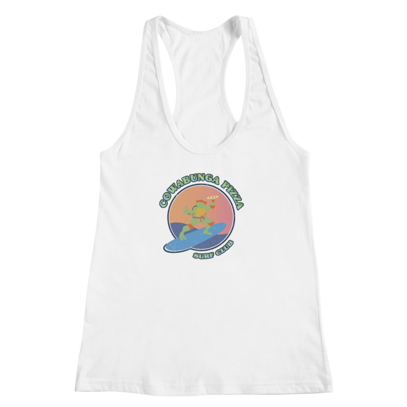 COWABUNGA PIZZA SURF CLUB Women's Racerback Tank by refritomix