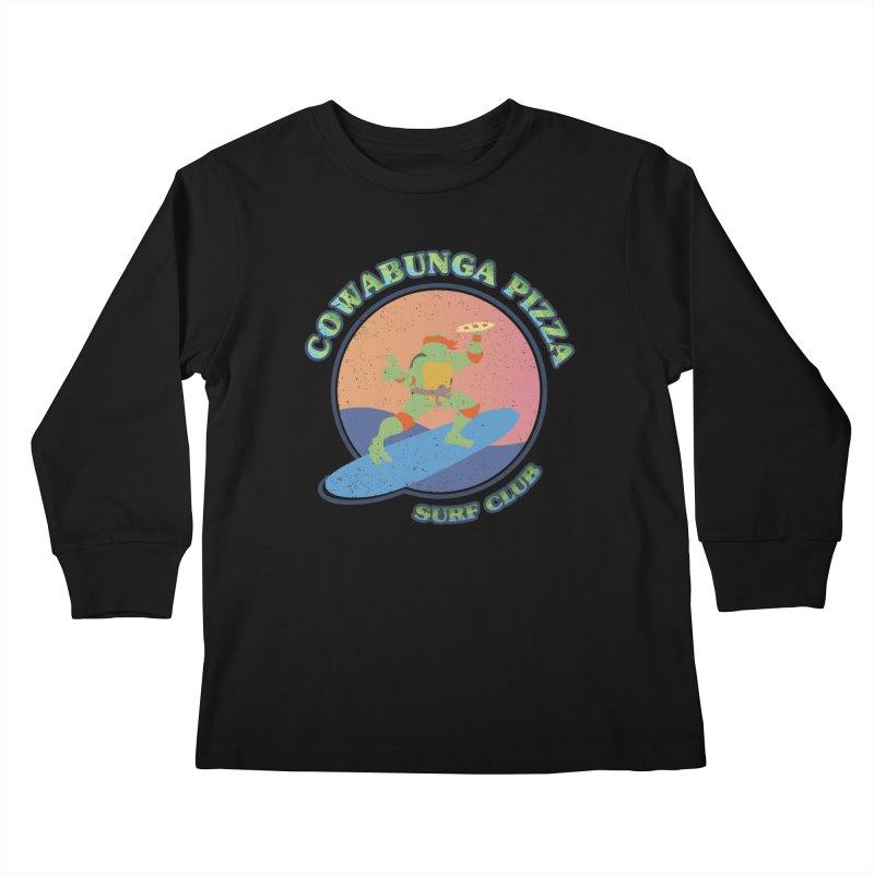 COWABUNGA PIZZA SURF CLUB Kids Longsleeve T-Shirt by refritomix