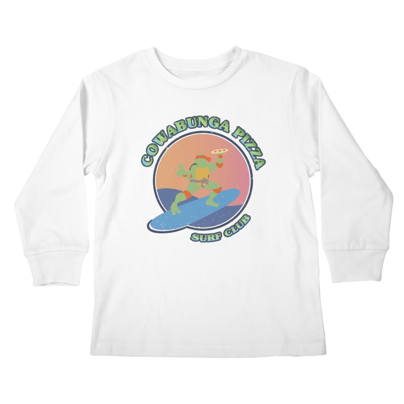 COWABUNGA PIZZA SURF CLUB Kids Longsleeve T-Shirt by refritomix