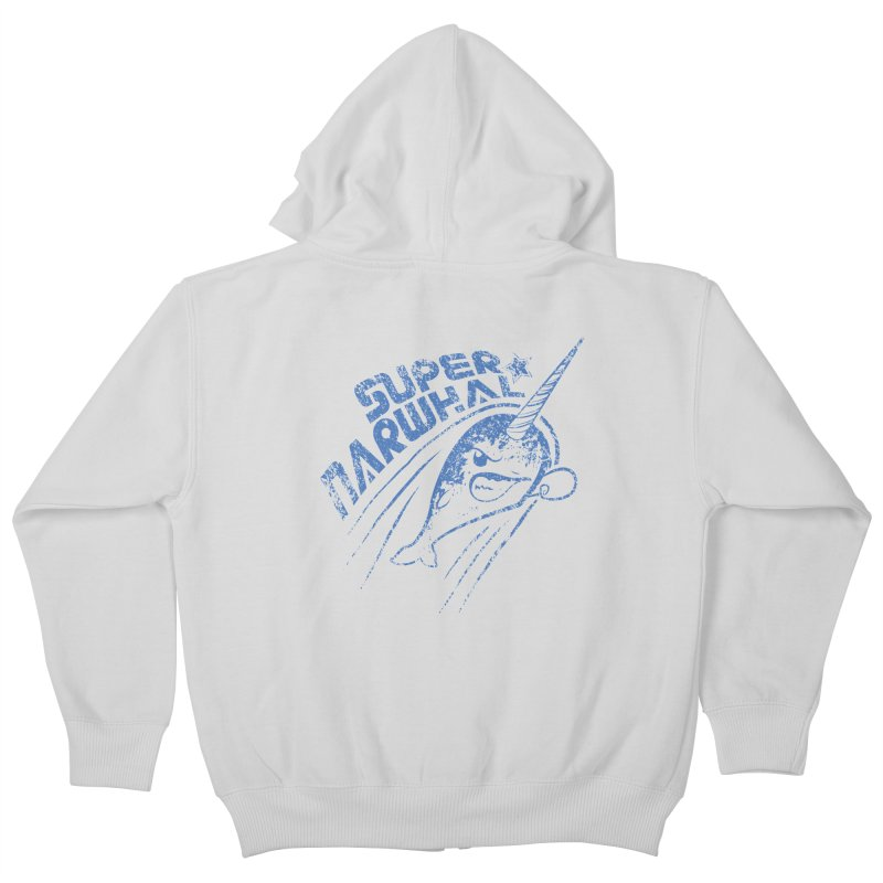 Super Narwhal Kids Zip-Up Hoody by Relyea Arts's Artist Shop