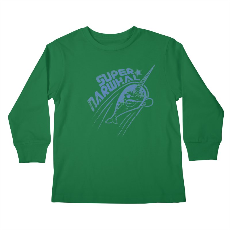 Super Narwhal Kids Longsleeve T-Shirt by Relyea Arts's Artist Shop