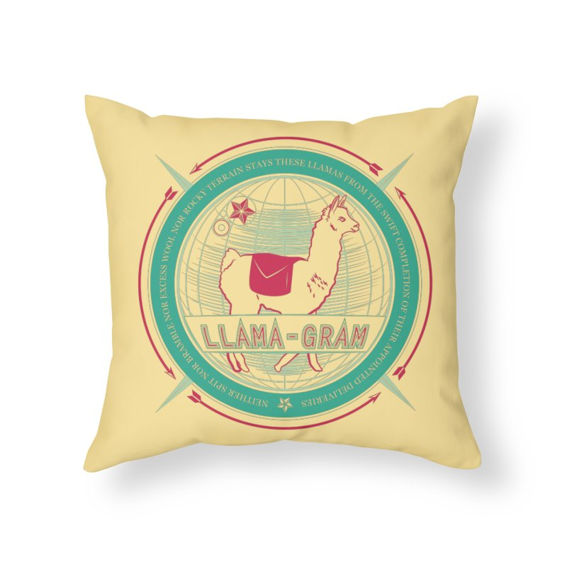 Llama-Gram Home Throw Pillow by Relyea Arts's Artist Shop