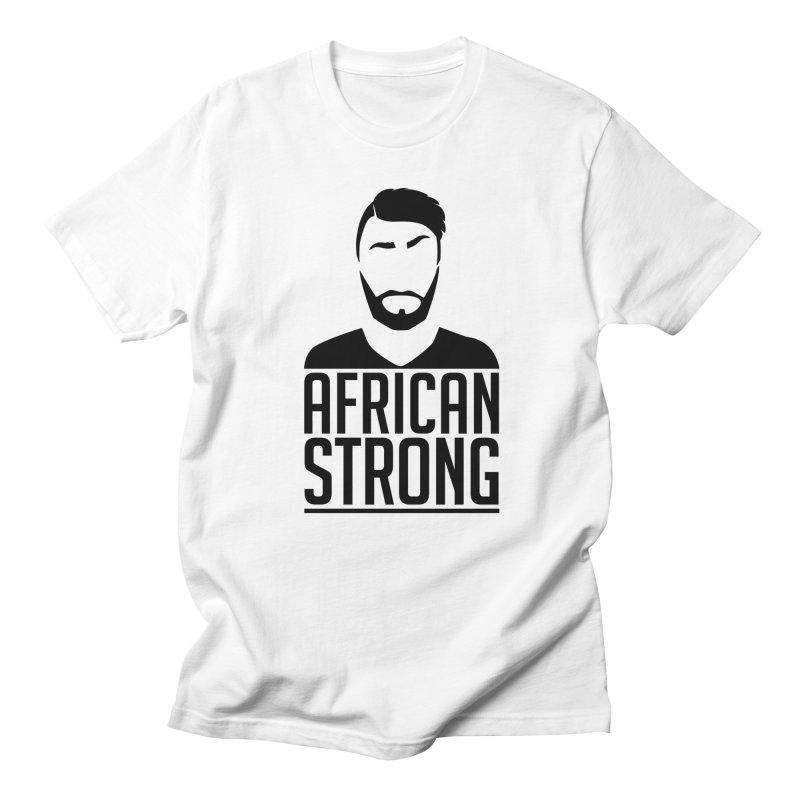 African Strong (Black Edition) in Men's Regular T-Shirt White by Renaldo Gouws