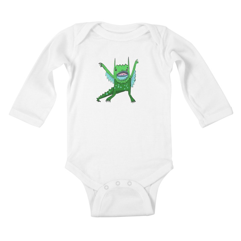 Little Monster Kids Baby Longsleeve Bodysuit by Renee Leigh Stephenson Artist Shop
