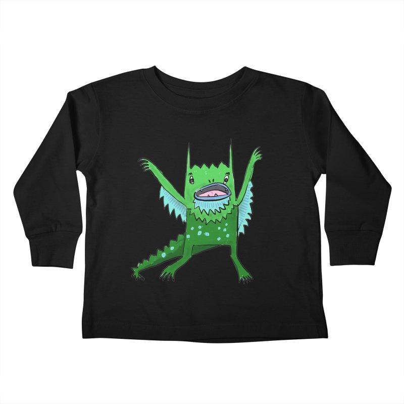 Little Monster Kids Toddler Longsleeve T-Shirt by Renee Leigh Stephenson Artist Shop