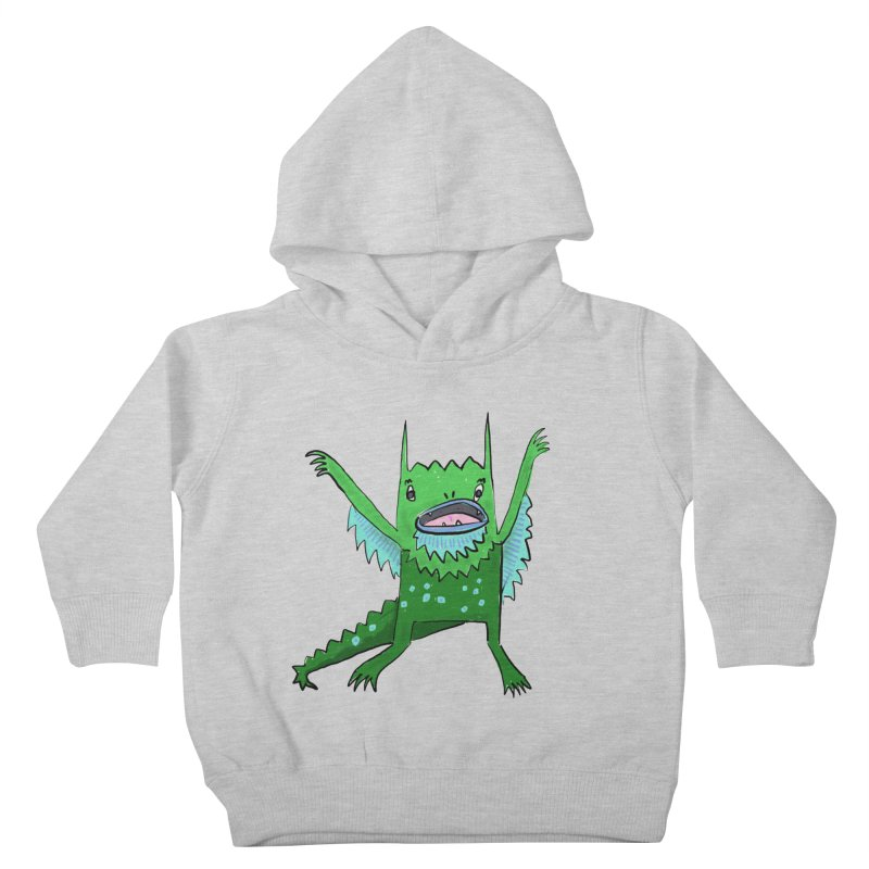 Little Monster in Kids Toddler Pullover Hoody Heather Grey by Renee Leigh Stephenson Artist Shop