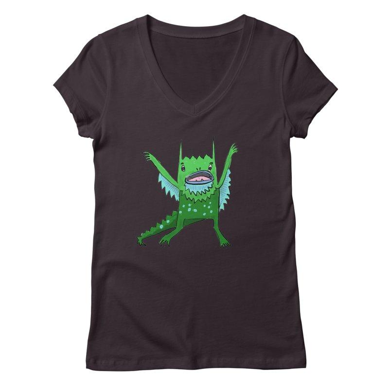 Little Monster Women's V-Neck by Renee Leigh Stephenson Artist Shop
