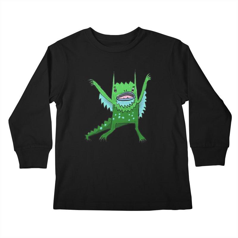 Little Monster Kids Longsleeve T-Shirt by Renee Leigh Stephenson Artist Shop