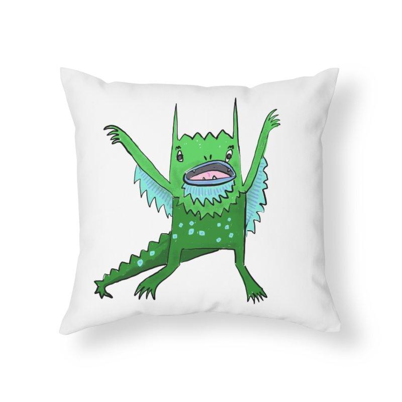 Little Monster Home Throw Pillow by Renee Leigh Stephenson Artist Shop