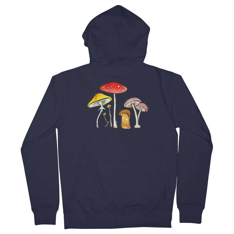 Woodland Mushrooms Men's Zip-Up Hoody by Renee Leigh Stephenson Artist Shop