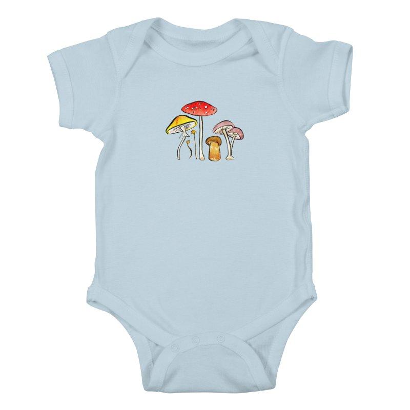 Woodland Mushrooms Kids Baby Bodysuit by Renee Leigh Stephenson Artist Shop