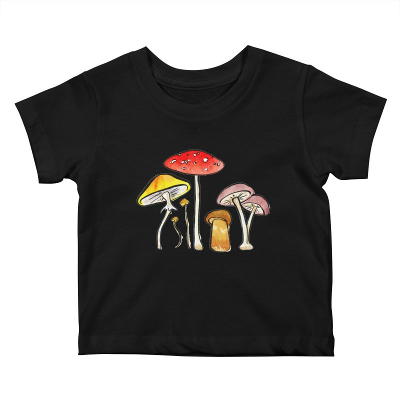 Woodland Mushrooms Kids Baby T-Shirt by Renee Leigh Stephenson Artist Shop