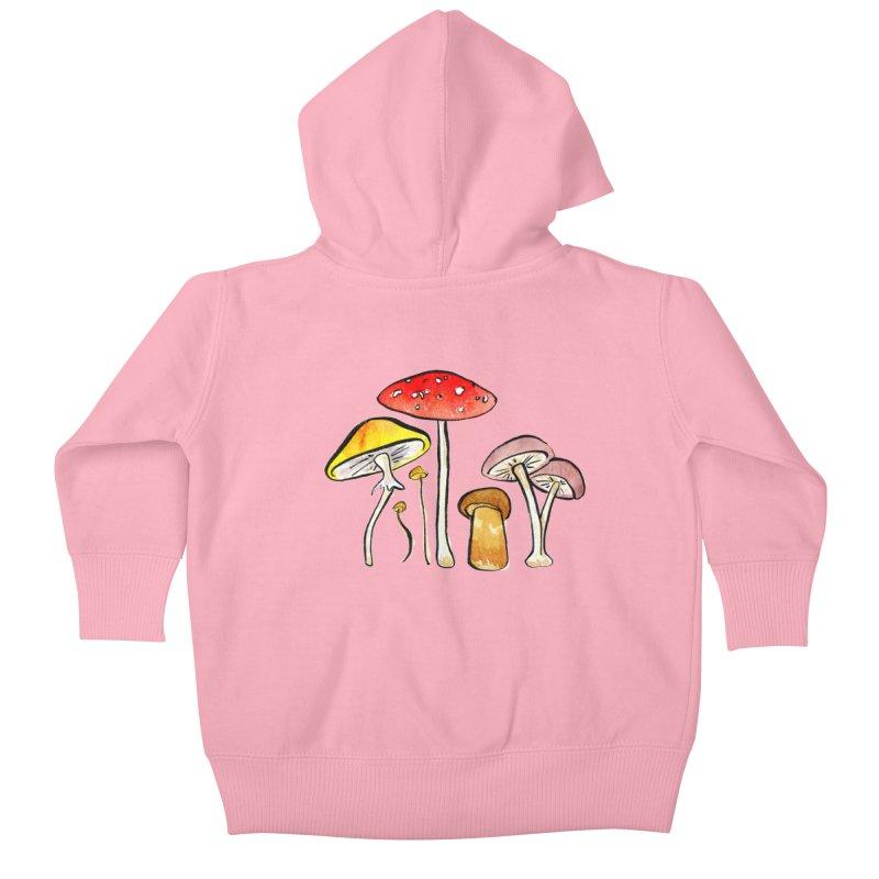 Woodland Mushrooms Kids Baby Zip-Up Hoody by Renee Leigh Stephenson Artist Shop