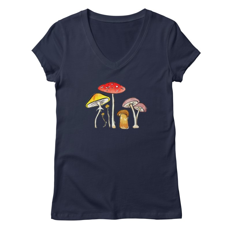 Woodland Mushrooms Women's V-Neck by Renee Leigh Stephenson Artist Shop
