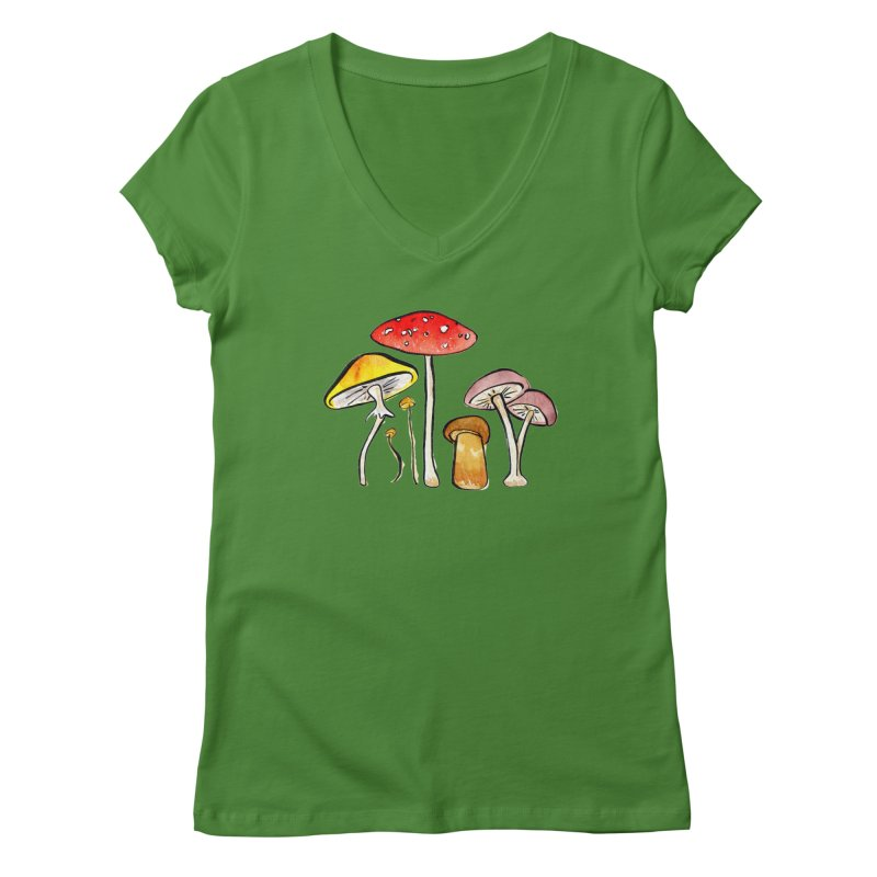 Woodland Mushrooms in Women's V-Neck Leaf by Renee Leigh Stephenson Artist Shop