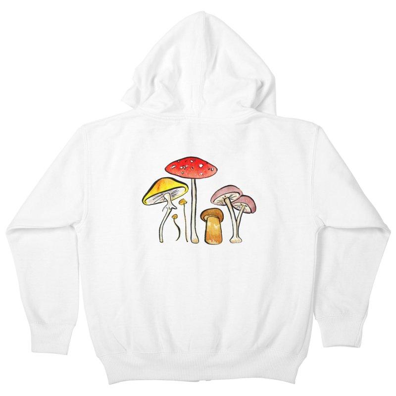 Woodland Mushrooms Kids Zip-Up Hoody by Renee Leigh Stephenson Artist Shop