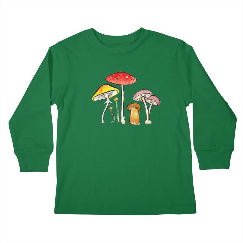 Woodland Mushrooms Kids Longsleeve T-Shirt by Renee Leigh Stephenson Artist Shop