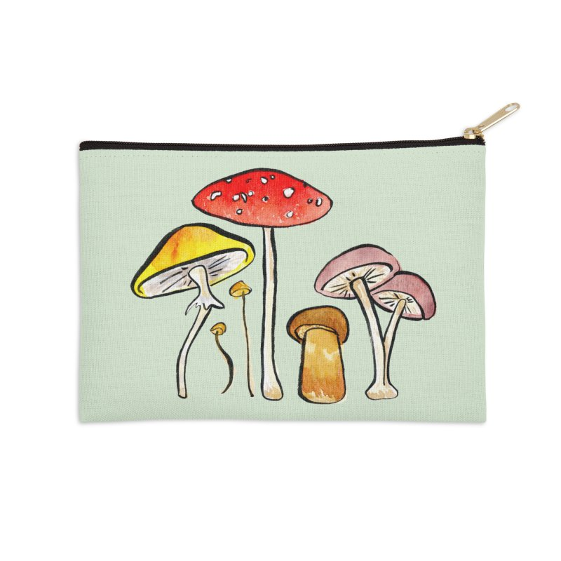 Woodland Mushrooms Accessories Zip Pouch by Renee Leigh Stephenson Artist Shop