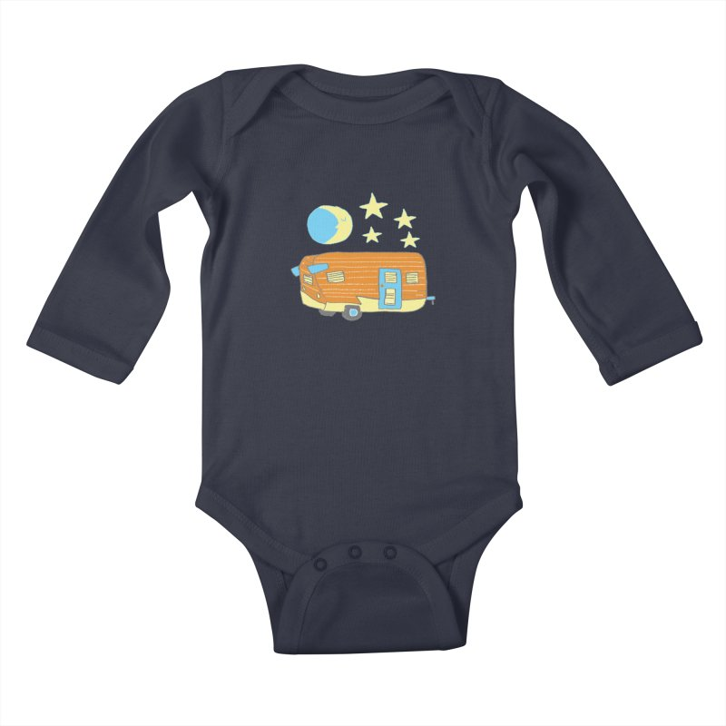 Camp in Kids Baby Longsleeve Bodysuit Midnight by Renee Leigh Stephenson Artist Shop