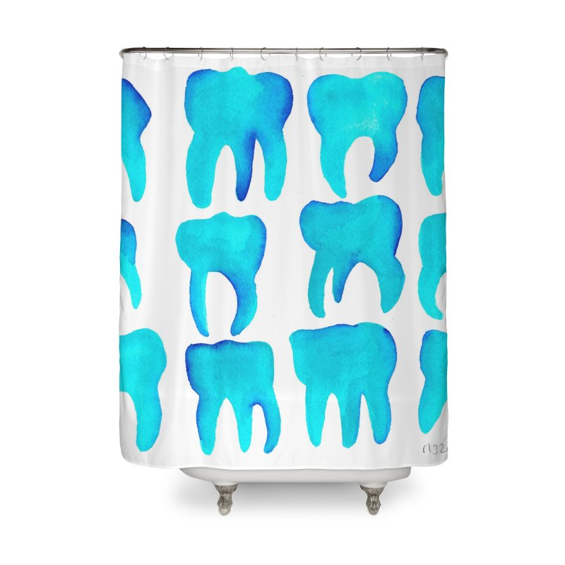 Turquoise Molars - Horizontal Home Shower Curtain by Renee Leigh Stephenson Artist Shop