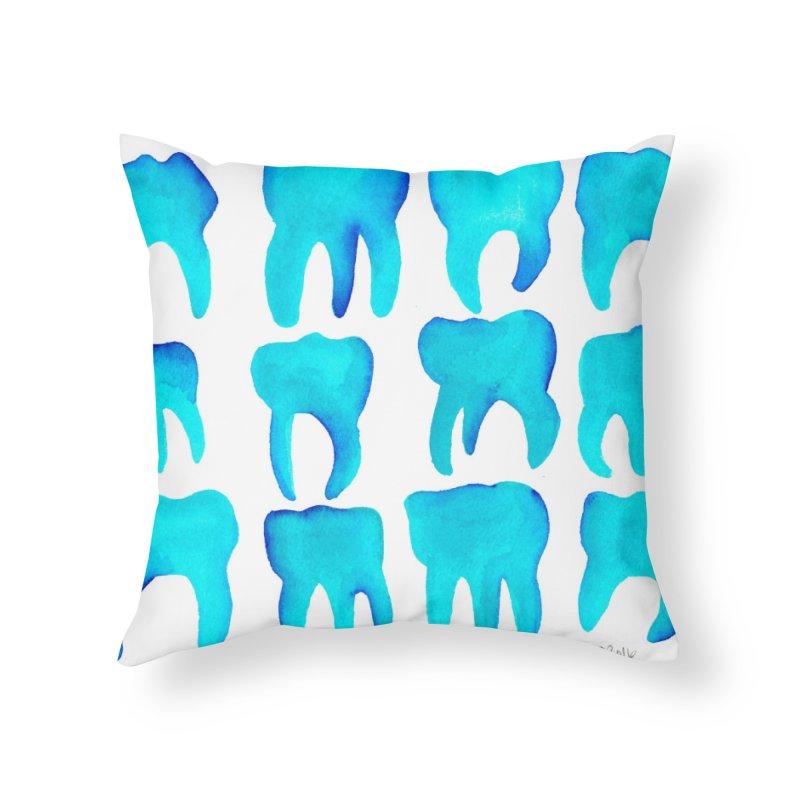 Turquoise Molars - Horizontal Home Throw Pillow by Renee Leigh Stephenson Artist Shop