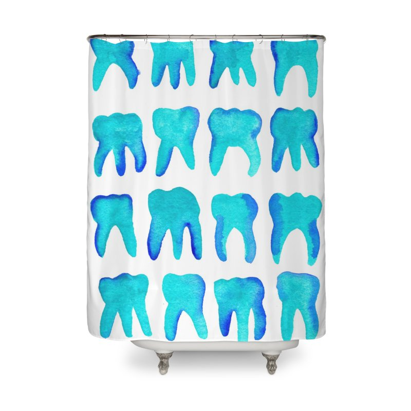 Turquoise Molars - Vertical Home Shower Curtain by Renee Leigh Stephenson Artist Shop