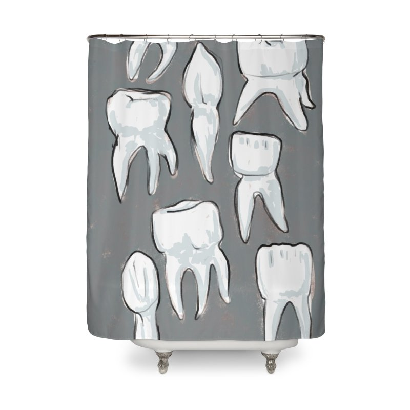 Human Teeth - Dark Home Shower Curtain by Renee Leigh Stephenson Artist Shop