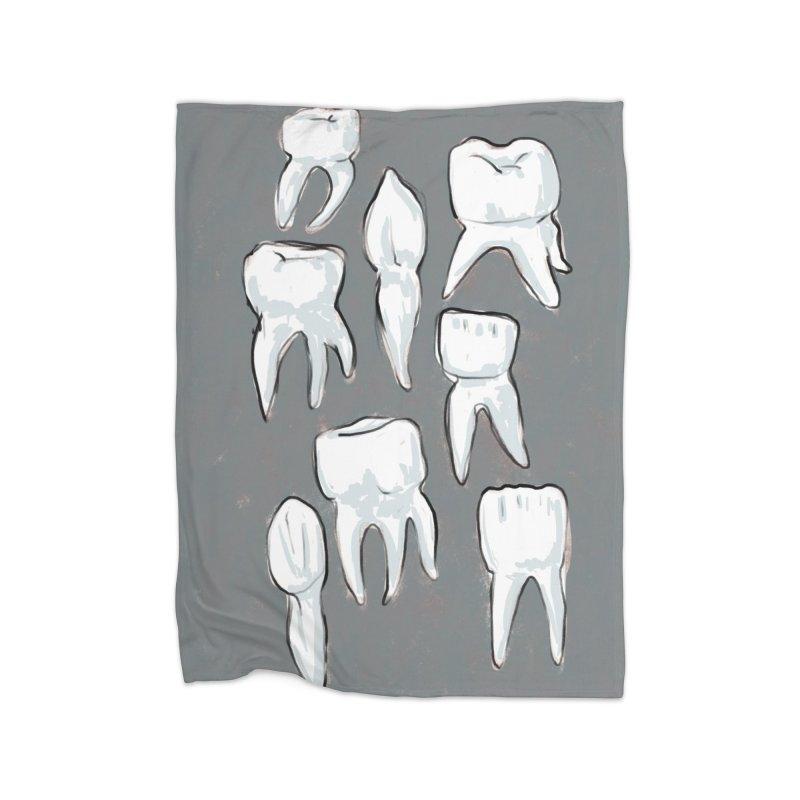 Human Teeth - Dark Home Blanket by Renee Leigh Stephenson Artist Shop