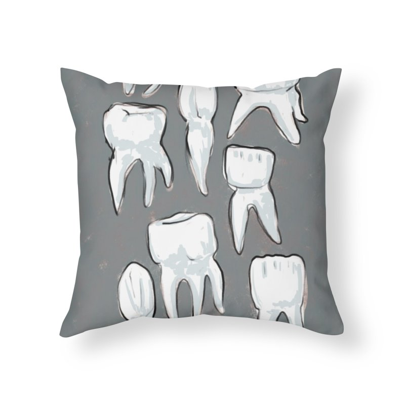 Human Teeth - Dark Home Throw Pillow by Renee Leigh Stephenson Artist Shop