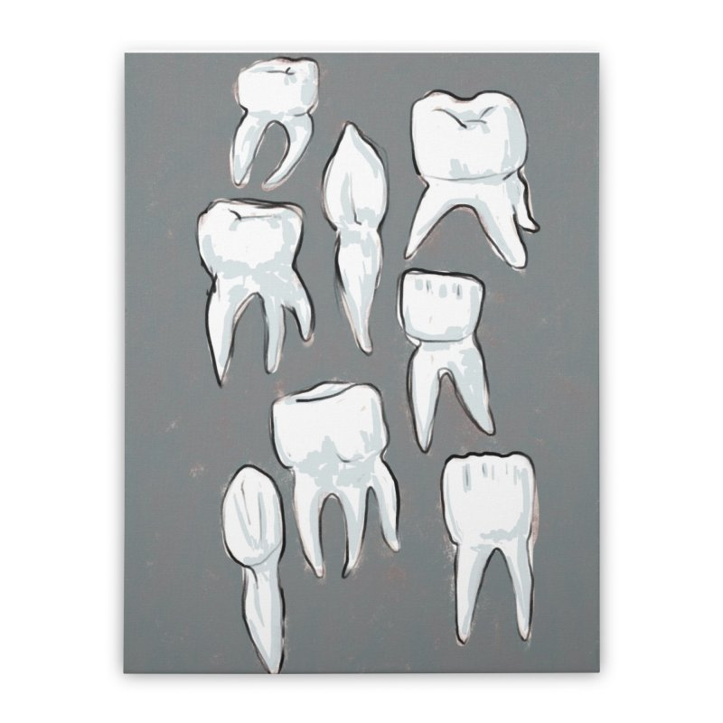 Human Teeth - Dark Home Stretched Canvas by Renee Leigh Stephenson Artist Shop