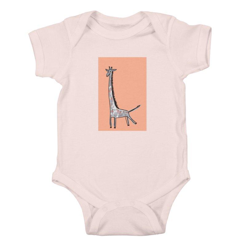 Giraffe Kick Kids Baby Bodysuit by Renee Leigh Stephenson Artist Shop