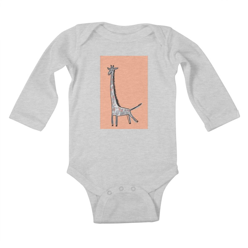 Giraffe Kick Kids Baby Longsleeve Bodysuit by Renee Leigh Stephenson Artist Shop