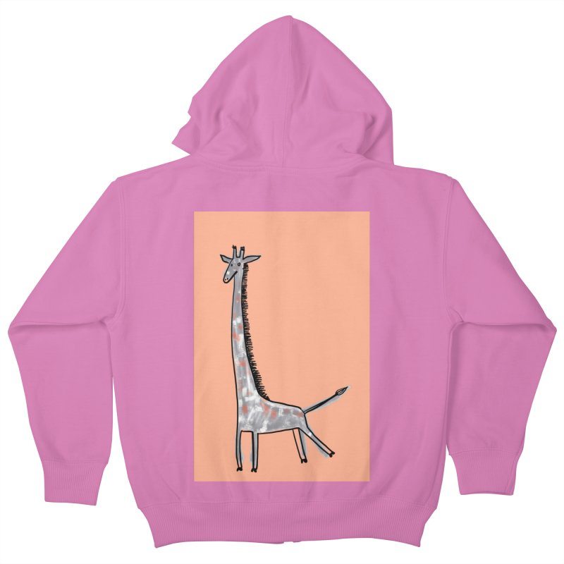 Giraffe Kick Kids Zip-Up Hoody by Renee Leigh Stephenson Artist Shop