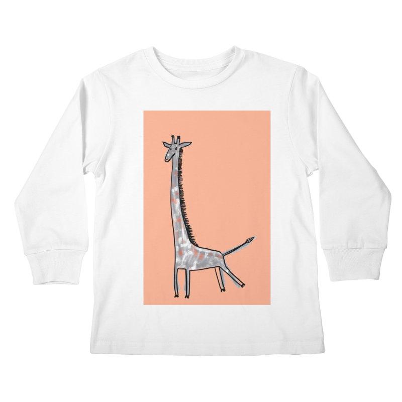 Giraffe Kick Kids Longsleeve T-Shirt by Renee Leigh Stephenson Artist Shop