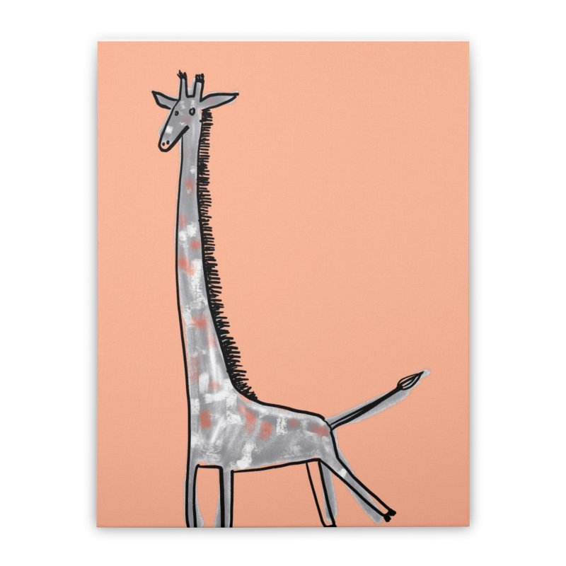 Giraffe Kick Home Stretched Canvas by Renee Leigh Stephenson Artist Shop