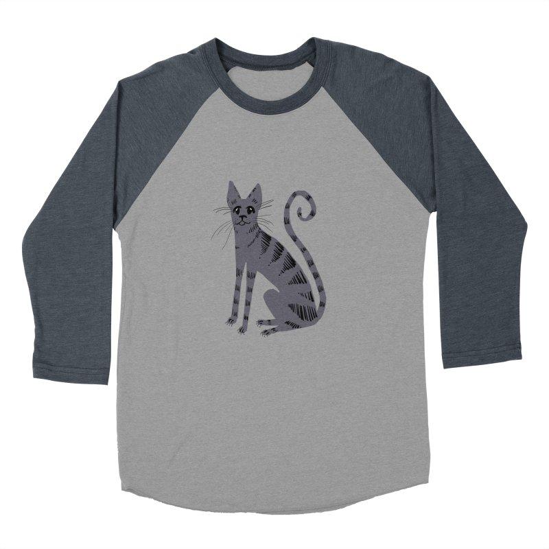 Grey Tabby Cat Men's Baseball Triblend T-Shirt by Renee Leigh Stephenson Artist Shop