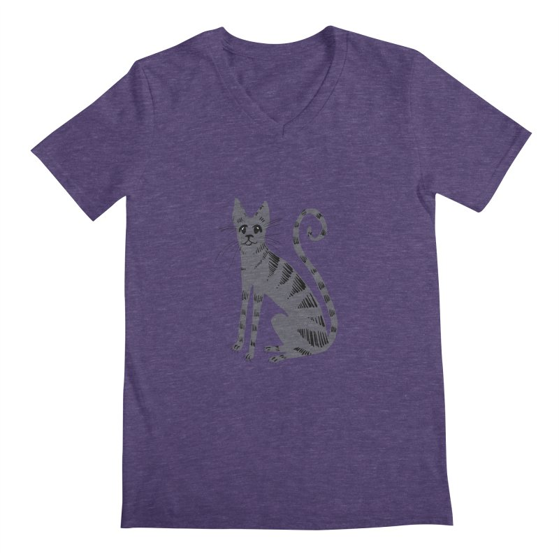Grey Tabby Cat Men's V-Neck by Renee Leigh Stephenson Artist Shop