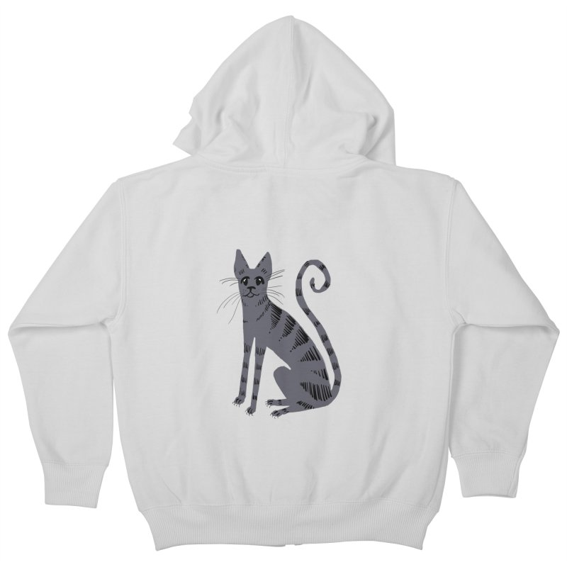 Grey Tabby Cat Kids Zip-Up Hoody by Renee Leigh Stephenson Artist Shop