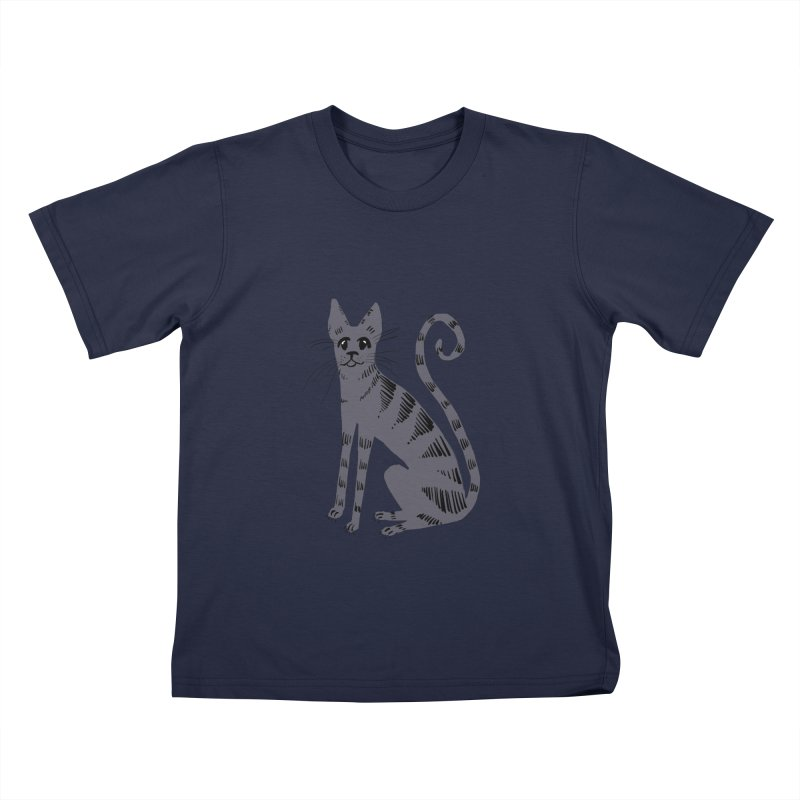 Grey Tabby Cat Kids T-shirt by Renee Leigh Stephenson Artist Shop