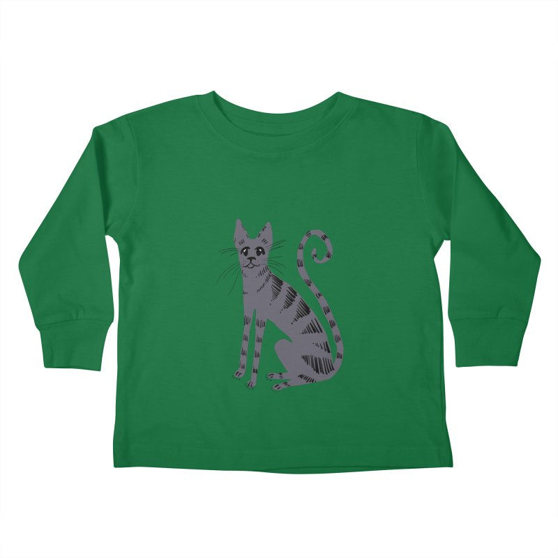 Grey Tabby Cat Kids Toddler Longsleeve T-Shirt by Renee Leigh Stephenson Artist Shop