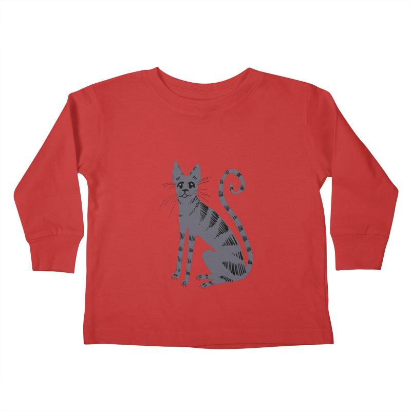 Grey Tabby Cat Kids Toddler Longsleeve T-Shirt by Renee Leigh Stephenson Artist Shop