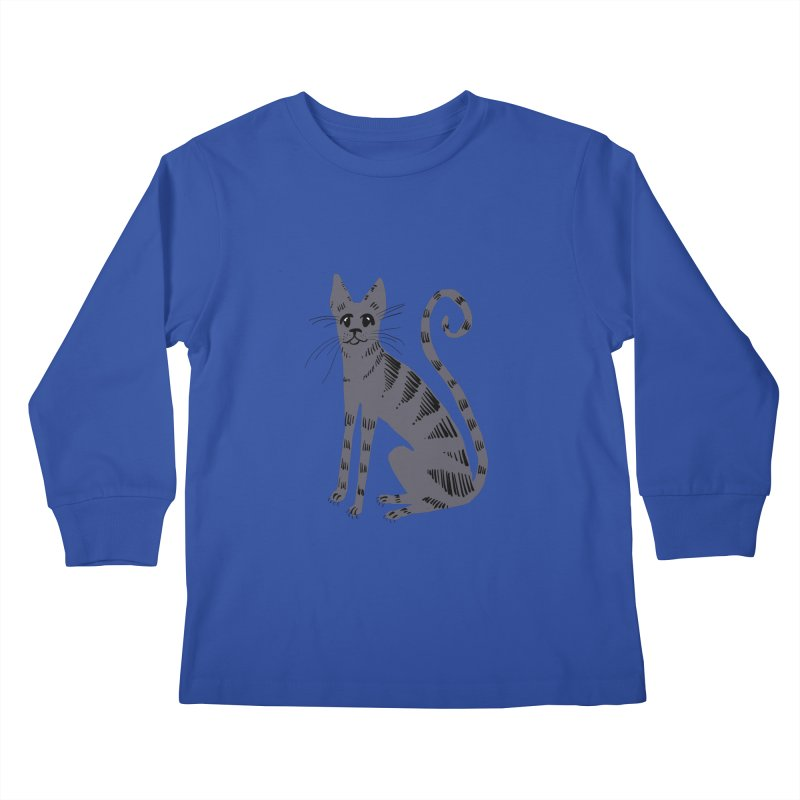 Grey Tabby Cat Kids Longsleeve T-Shirt by Renee Leigh Stephenson Artist Shop